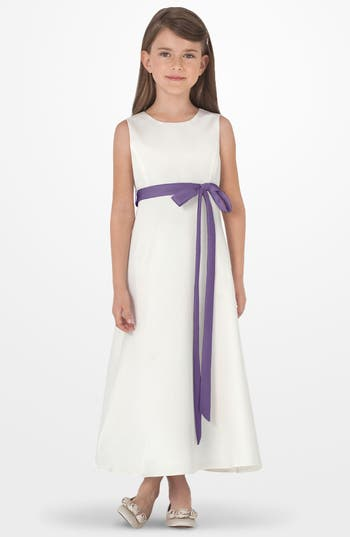 Girl's Us Angels Sleeveless Satin Dress, Size 7 - Purple