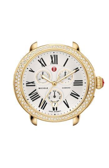 Women's Michele Serein Diamond Gold Plated Watch Case, 40Mm X 38Mm