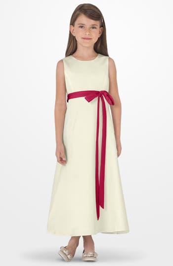 Girl's Us Angels Sleeveless Satin Dress, Size 4 - Red