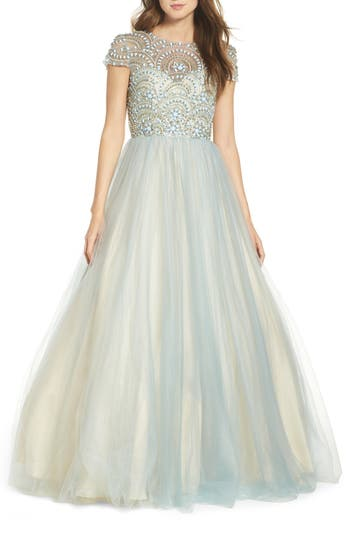 1950s Style Cocktail Dresses & Gowns Womens MAC Duggal Beaded Bodice Tulle Ballgown Size 4 - Blue $598.00 AT vintagedancer.com
