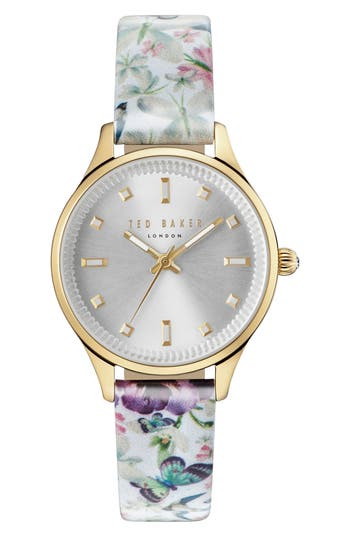 Women's Ted Baker London Zoe Round Leather Strap Watch, 32Mm