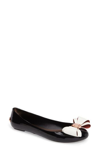 Women's Ted Baker London Julivia Bow Flat, Size 5 M - Black