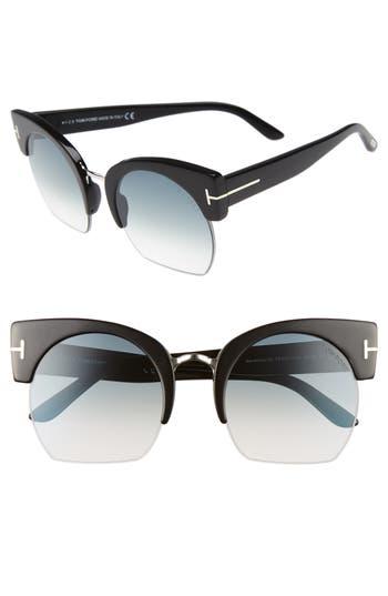 Tom Ford Savannah 55Mm Cat Eye Sunglasses - Shiny Black/ Gradient Smoke
