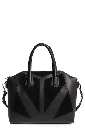 Sole Society Rosamund Faux Leather And Faux Suede Satchel - Black