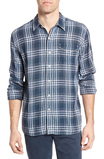 Men's True Grit Indigo Plaid Sport Shirt