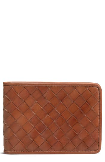 Trask Woven Leather Wallet - Brown