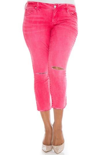 Plus Size Women's Slink Jeans Fray Hem Ripped Crop Skinny Jeans, Size 10W - Pink