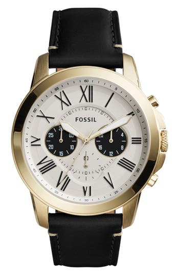 Men's Fossil Grant Chronograph Leather Strap Watch, 44Mm