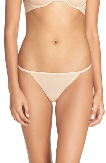 Women's Calvin Klein Marquisette String Thong, Size Small - Beige