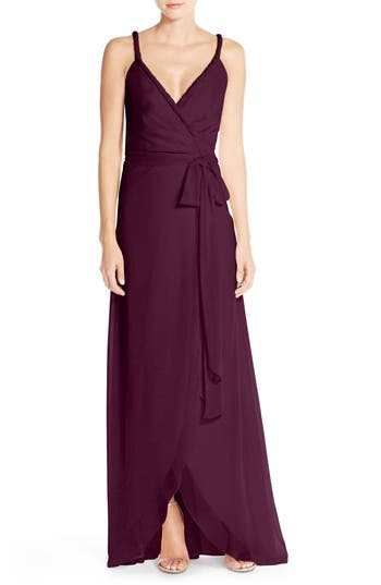 Women's Ceremony By Joanna August 'Parker' Twist Strap Chiffon Wrap Gown, Size X-Small - Red