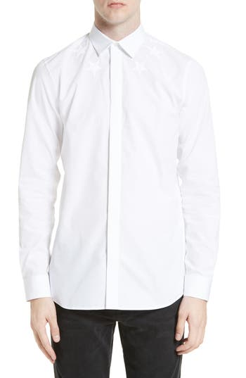 Givenchy Tonal Star Embroidered Sport Shirt In White