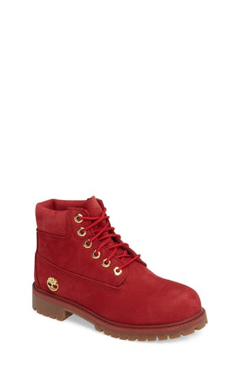 Boy's Timberland 40Th Anniversary Ruby Red Waterproof Boot, Size 4.5 M - Red