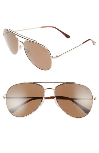 Men's Tom Ford Indiana 60Mm Polarized Aviator Sunglasses - Shiny Rose Gold/ Light Brown