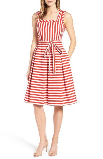 Women's Anne Klein Stripe Fit & Flare Dress, Size 6 - Red