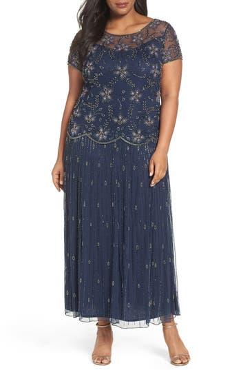 Plus Size Retro Dresses Plus Size Womens Pisarro Nights Embellished Long Dress Size 20W - Blue $248.00 AT vintagedancer.com