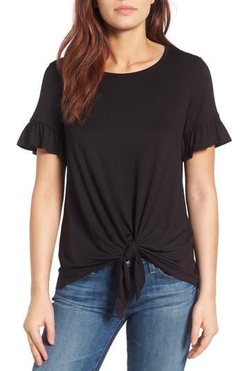 Petite Women's Bobeau Bell Sleeve Tie Front Top, Size Large P - Black