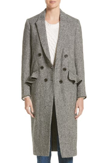 Women's Burberry Trentwood Double Breasted Herringbone Wool Coat