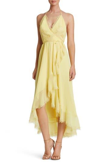 Women's Dress The Population Gia Backless Chiffon Wrap Dress, Size X-Small - Yellow