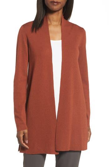 Women's Eileen Fisher Merino Straight Long Cardigan, Size X-Large - Red