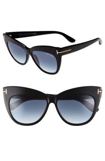 Tom Ford Nika 5m Gradient Cat Eye Sunglasses - Shiny Black/ Gradient Blue