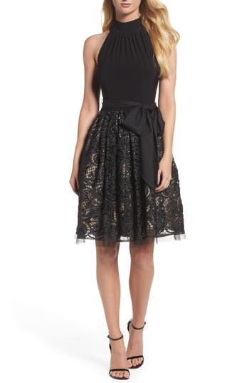 Women's Vince Camuto High Neck Jersey & Lace Party Dress