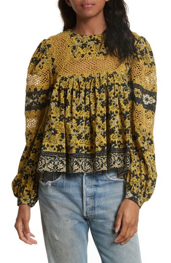 Women's Sea Lace Bib Print Silk Blouse