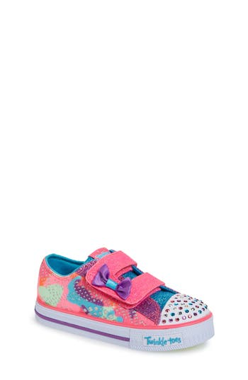 Toddler Girl's Skechers Twinkle Toes Shuffles Light-Up Sneaker, Size 10 M - Pink