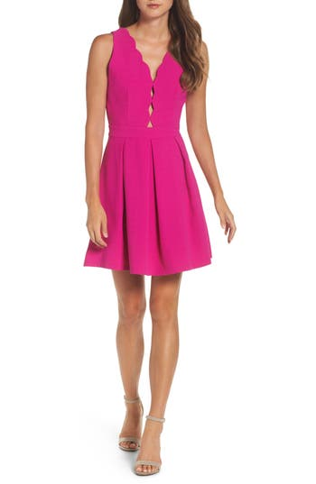 Women's Adelyn Rae Scalloped Fit & Flare Dress