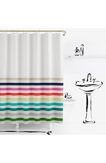 Kate Spade New York Candy Stripe Shower Curtain, Size One Size - White