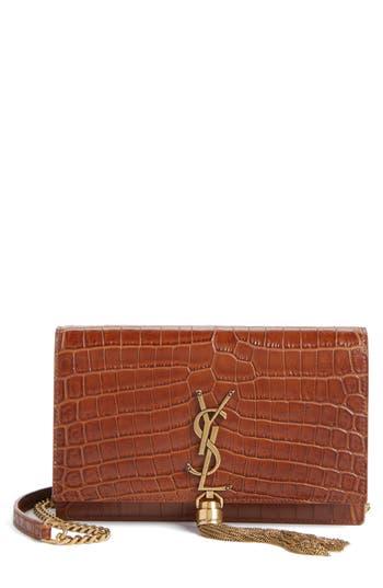 Women's Saint Laurent Monogram Croc Embossed Calfskin Wallet On A Chain -