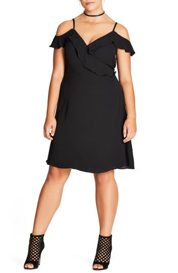 Plus Size Women's City Chic Lulu Faux Wrap Dress, Size X-Small - Black