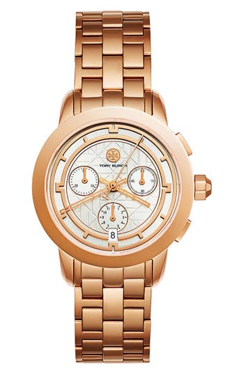 TORY BURCH THE TORY CLASSIC CHRONOGRAPH WATCH, ROSE-GOLDEN/WHITE