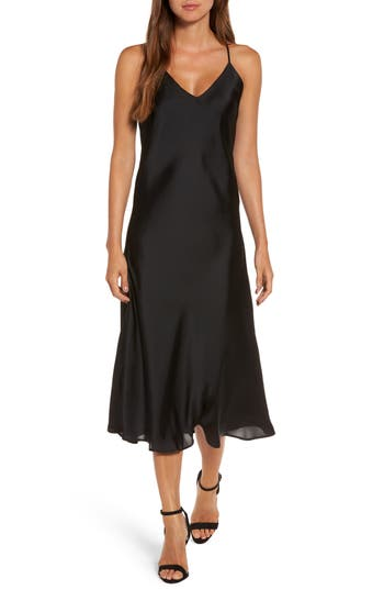 Women's Sincerely Jules Simple Slipdress, Size Large - Black