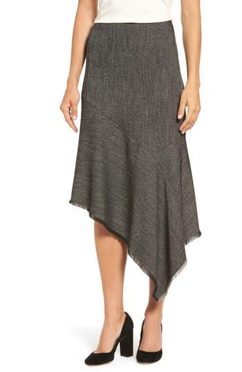 Women's Anne Klein Asymmetrical Tweed Skirt, Size 4 - Black