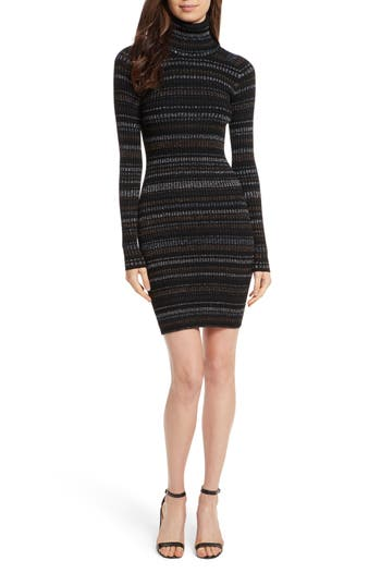 Women's Milly Metallic Stripe Fitted Dress, Size Petite - Black