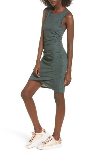 Leith Ruched Body-Con Tank Dress, Green