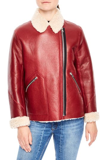 Sandro Genuine Shearling Jacket, Pink