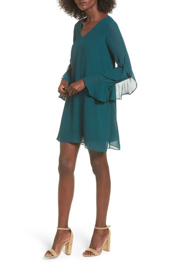 Women's Soprano Ruffle Sleeve Shift Dress, Size Large - Green