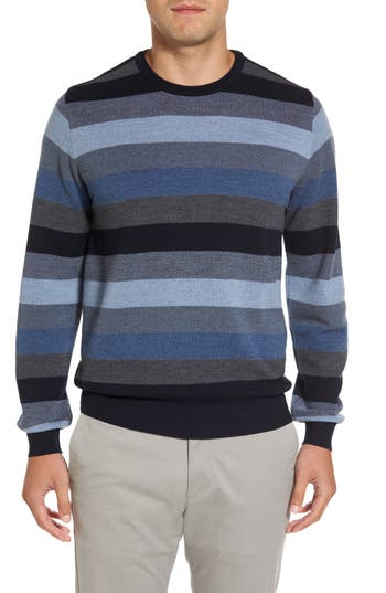 Men's Paul & Shark Stripe Wool Sweater, Size Medium - Blue