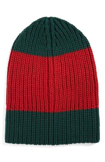 Men's Gucci Colorblock Wool Knit Cap - Red