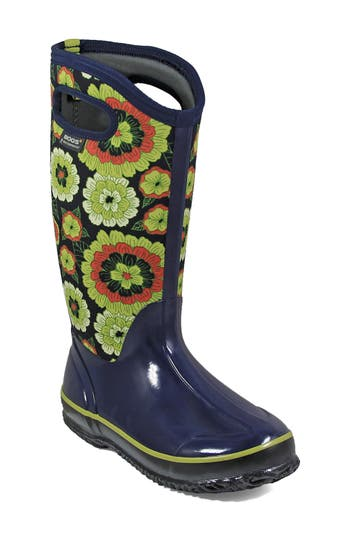 Bogs Classic Pansies Waterproof Insulated Boot, Blue