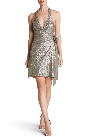 Women's Dress The Population Danielle Sequin Wrap Mini Dress, Size Medium - Metallic