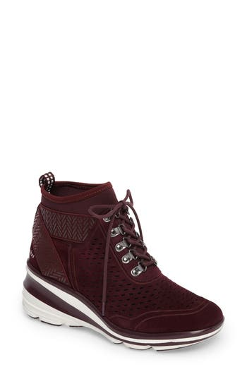 Jambu Offbeat Perforated Wedge Sneaker, Burgundy