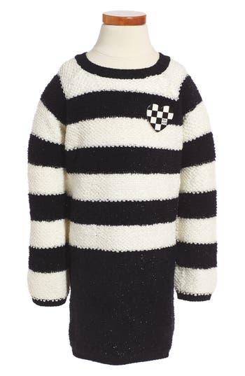 Girl's Little Marc Jacobs Stripe Sweater Dress, Size 4 - Black