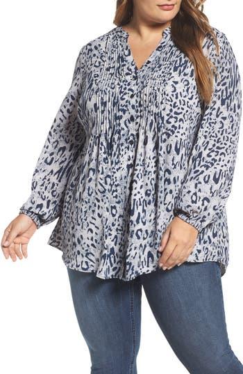 Plus Size Women's Melissa Mccarthy Seven7 Print Pintuck Blouse