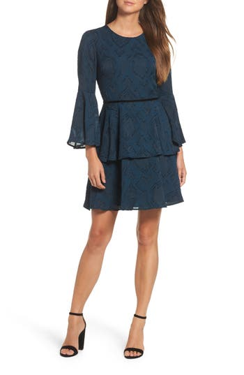 Women's Vince Camuto Tiered Chiffon Fit & Flare Dress