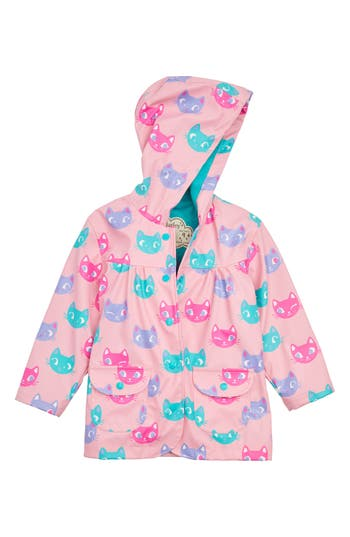 Girl's Hatley Silly Kitties Print Raincoat, Size 5 - Purple