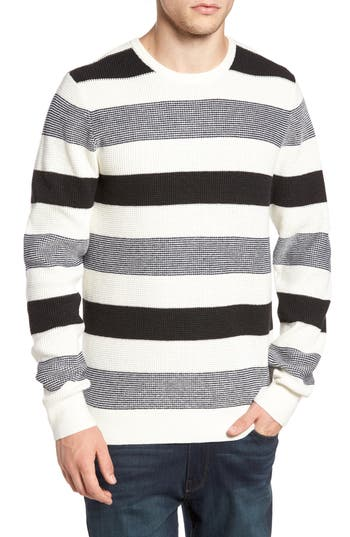 Men's 1901 Stripe Waffle Knit Sweater, Size Small - White
