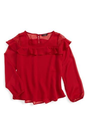 Girl's Bebe Ruffle Chiffon Top, Size M (10-12) - Red