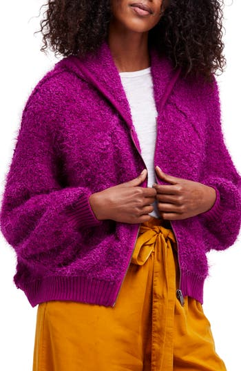 Women's Free People Furry Time Hooded Jacket, Size Large - Pink